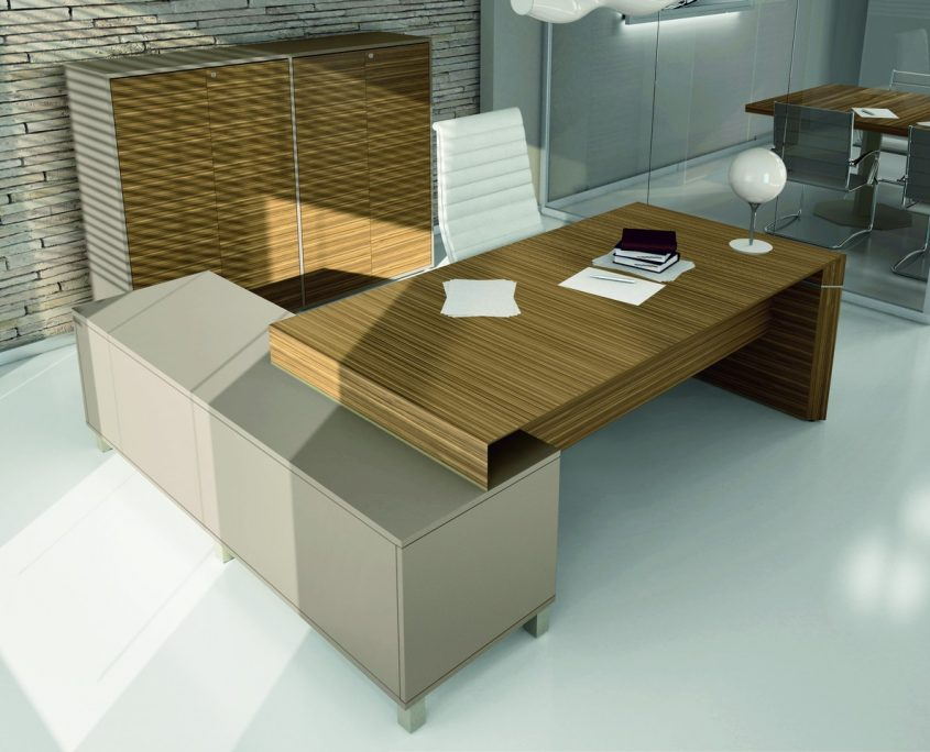 Bureau direction design verre cuir bois bureau design for Bureau direction