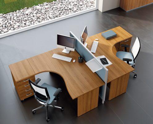 Bureaux m lamin pieds panneaux couleur bois ubia for Mobilier bureau 94