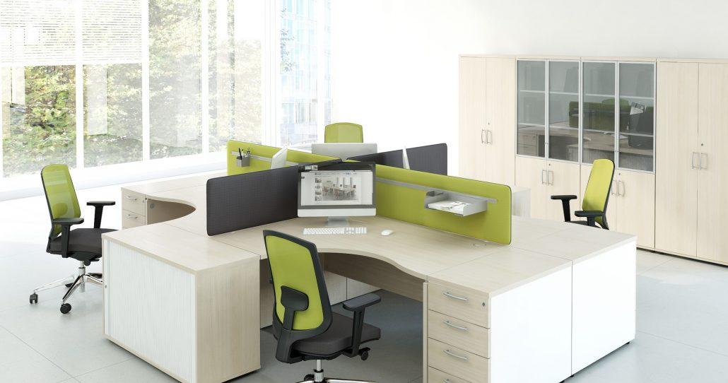 Bureaux mélaminé pieds panneaux couleur bois ubia mobilier