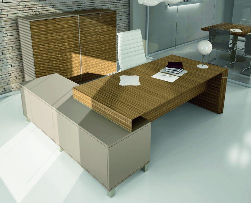 Bureau direction design verre cuir bois bureau design direction