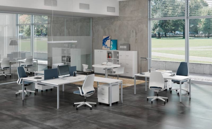 Bureaux mélaminé pieds métal- Ubia mobilier bureau