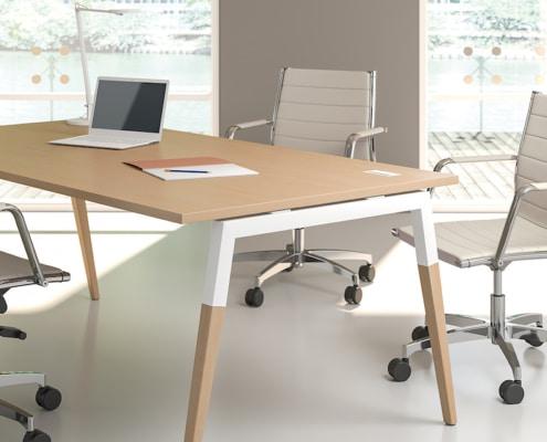 Bureaux melaminés pieds bois - Ubia mobilier bureau ASKA (4)