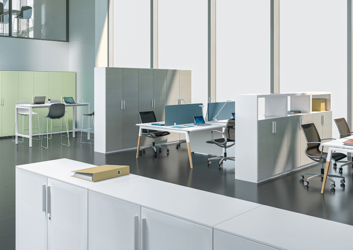 Bureaux melaminés pieds bois - Ubia mobilier bureau ASKA (6)