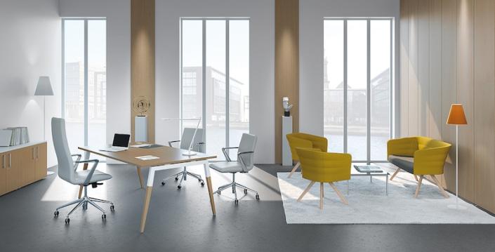 Bureaux melaminés pieds bois - Ubia mobilier bureau ASKA (8)