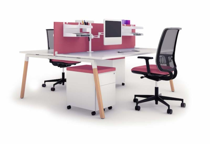 Bureaux melaminés pieds bois - Ubia mobilier bureau CINETIC PIEDS BOIS (2)