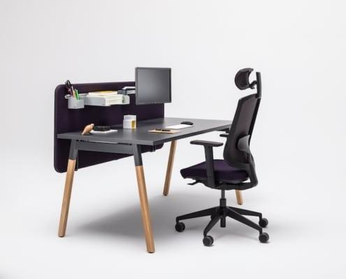 Bureaux melaminés pieds bois - Ubia mobilier bureau OGI (54)